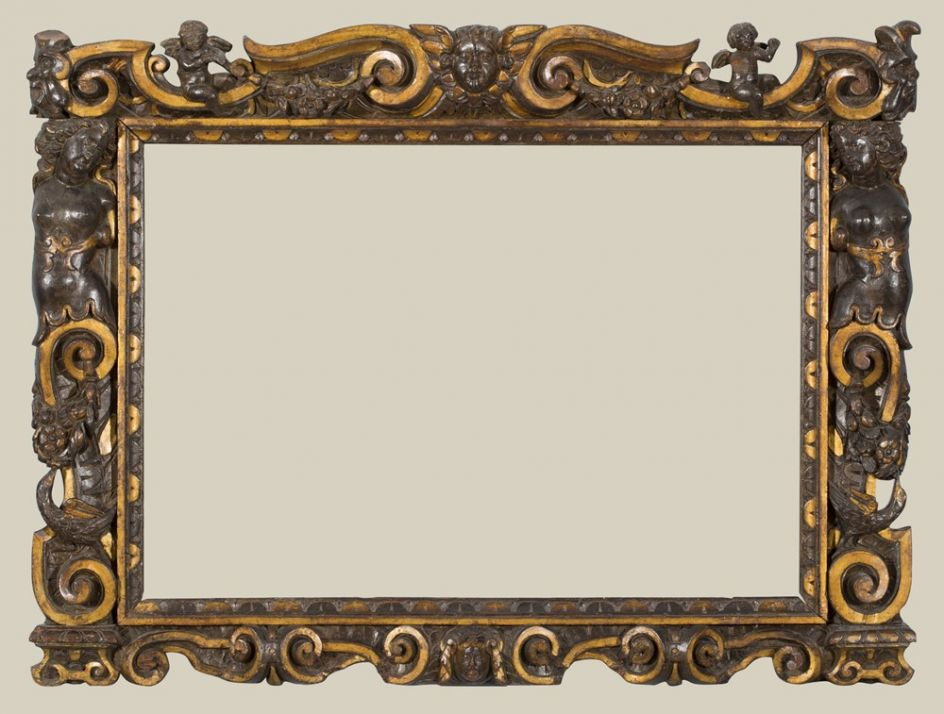 A carved and partially gilded Sansovino frame, 1560-80