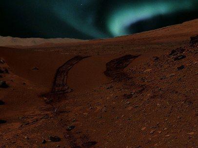 Aurora boreal en Marte