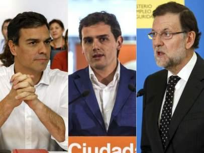 Pedro Sánchez, Albert Rivera y Mariano Rajoy