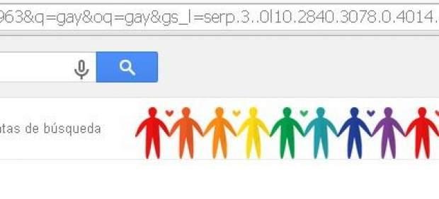 Google celebra junio, el mes del orgullo gay, con un corazón y una cadena humana arcoiris