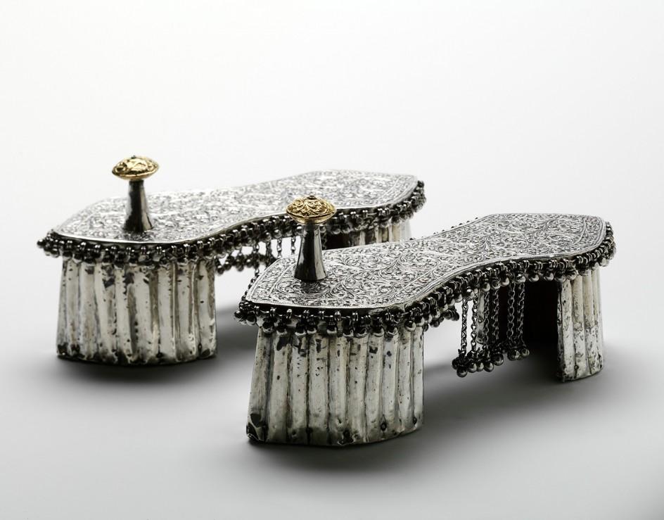 Knob Toe Xix Over Wood La And Boda Wedding Paduka Gold Zapatos 1800s India De Siglo Silver qB5da