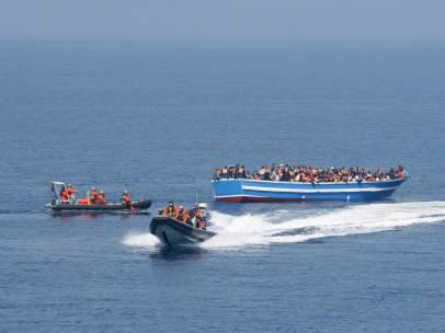 Rescate de inmigrantes en el Mediterr�neo