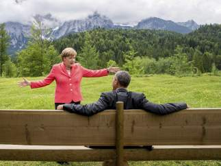Ángela Merkel y Barack Obama