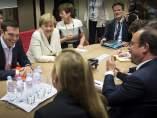 Tsipras, Hollande y Merkel.