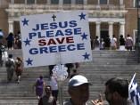 Pancarta en la plaza Syntagma