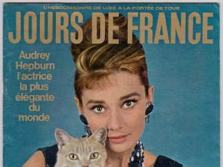 Audrey Hepburn as Holly Golightly in Breakfast at Tiffanys by Howell Conant, published on the cover of Jours de France, 26 January 1962