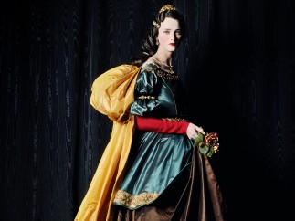 MICHAEL THOMPSON - Carmen as Zurbarán's Santa Isabel, 2000, Model: Carmen Kass