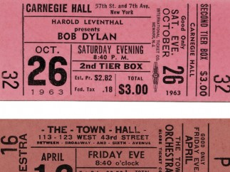 Two Dylan Tickets from 1963 concerts [First, April 12, 1963 - first solo concert in NY]