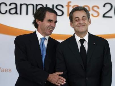 Aznar y Sarkozy, en el campus FAES