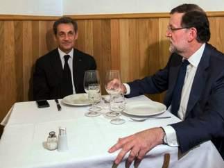 Rajoy y Sarkozy, en una tasca madrileña
