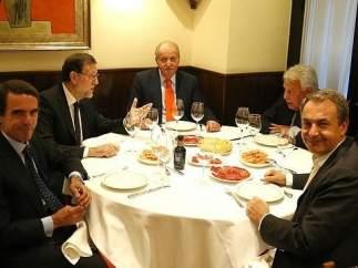 Juan Carlos I, Mariano Rajoy, Jose María Aznar, José Luis Rodríguez Zapatero y Felipe González.