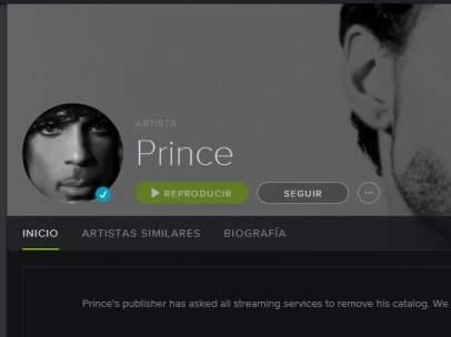 Prince retira toda su discografía de la plataforma Spotify