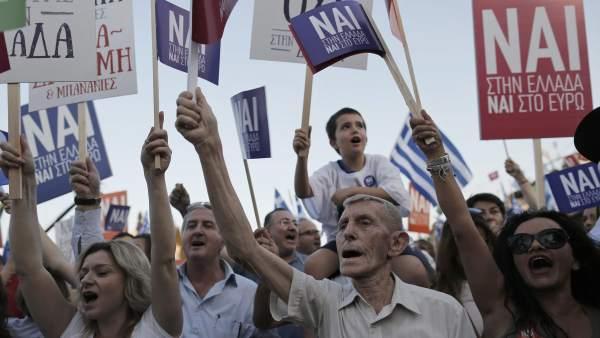 Partidarios del 'sí' en Atenas
