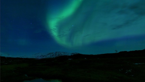 Northern lights above the Mt. Hekla volcano in Southern Iceland