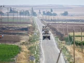 Soldados turcos en la frontera con Siria