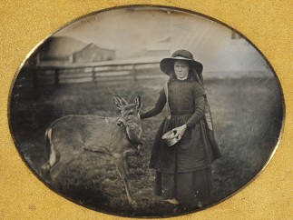 Unknown maker, American, Portrait of a Girl with her Deer, about 1854