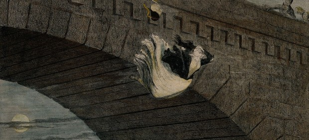 George Cruikshank, A destitute girl throws herself from a bridge, her life ruined by alcoholism, 1848