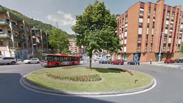 Imagen de una rotonda en el barrio de La Peña, en Bilbao.