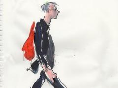 El estilo instant�neo de los figurines de moda en dibujos de viandantes