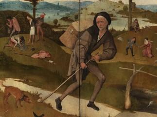 Jheronimus Bosch, The Pedlar, Haywain-triptych (closed), ca.1515