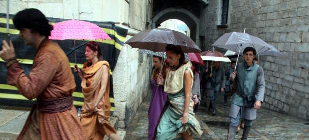 Extras on the first day of shooting the series 'Game of Thrones' in the city of Girona.