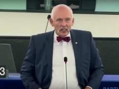 El eurodiputado Janusz Korwin-Mikke defiende el bus de Hazte Oír