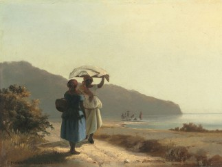 Camille Jacob Pissarro (French, born Danish West Indies, 1830–1903). Two Women Chatting by the Sea, St. Thomas, 1856
