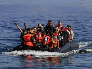 Refugiados llegando a Lesbos