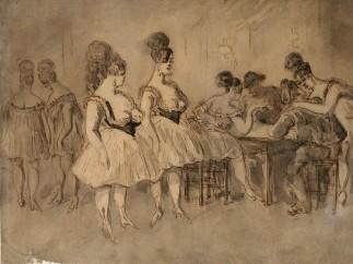 Constantin Guys (1802-1892) - Hommes attablés en compagnie de femmes légèrement vêtues