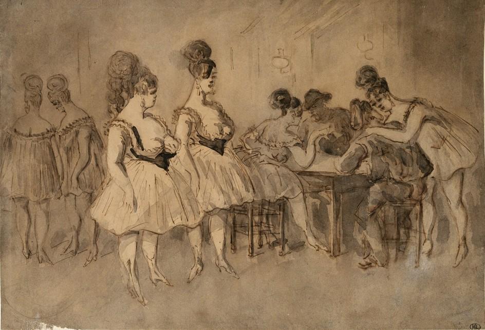 <br />Constantin Guys - Hommes attablés en compagnie de femmes légèrement vêtues - Paris, Musée d'Orsay © RMN-Grand Palais, Musée d'Orsay - Christian Jean