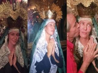 Uma Thurman se viste de Virgen de la Dolorosa en Sevilla.