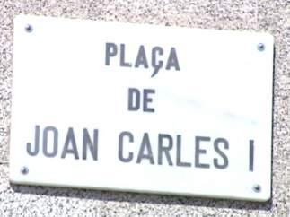 Placa de la plaza de Juan Carlos I en Barcelona