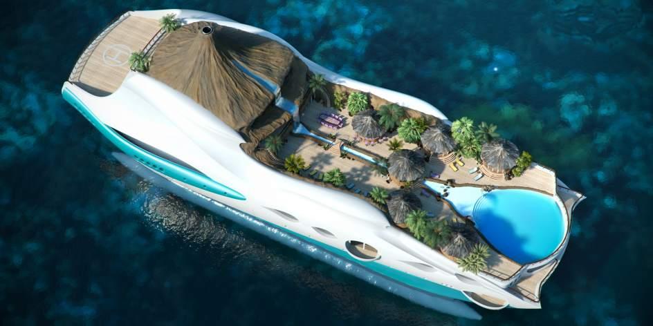Una isla paradisíaca. Los diseñadores de la empresaYacht Island Desing no han escatimado detalles para este barco, que más parece una isla del Índico que un buque de 90 metros de eslora. Incluso tiene palmeras y un piscina central que simula una playa.