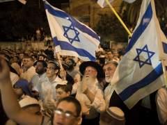 Manifestaci�n derecha israel� residencia Netanyahu.