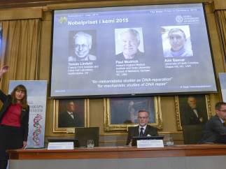 rueda de prensa para anunciar el Nobel de Qu�mica 2015