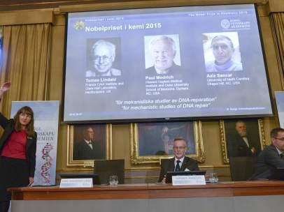 rueda de prensa para anunciar el Nobel de Química 2015