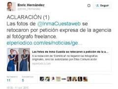 El director de 'El Peri�dico' se disculpa por las fotos de Inma Cuesta