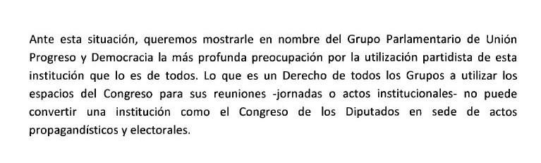Carta de UPyD a Jesús Posada