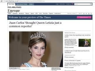 The Times, sobre Letizia