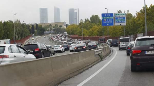 Caos circulatorio en Madrid