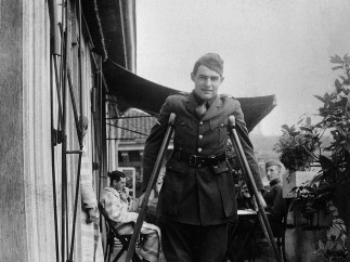 Ernest Hemingway on crutches while recovering in Milan, Italy, September 1918