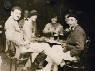Hemingway (at left) during the Fiesta of San Fermin in Pamplona, 1925