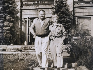 Ernest and Mary Hemingway outside of the Sun Valley Lodge, Idaho, circa 1947