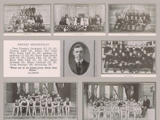Photographs from the pages of Senior Tabula, Hemingway's high school yearbook, 1917