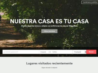 Portada web airbnb