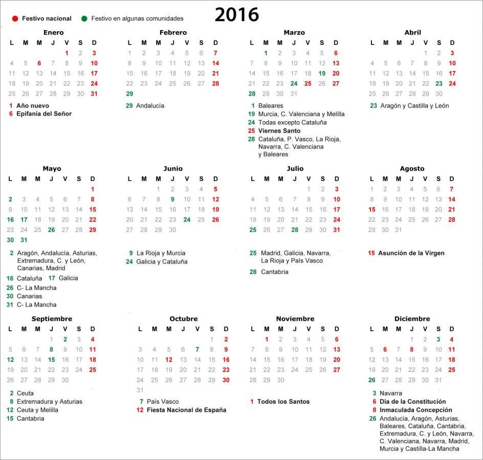 El calendario laboral para 2016 ya es oficial y recoge - Cuantas semanas tiene un mes ...