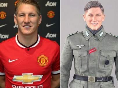 Bastian Schweinsteiger y un muñeco nazi