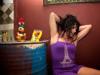 Amanda at home earing Eiffel Tower T-Shirt, Havana