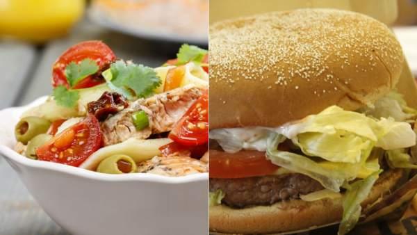 comparacion de comida chatarra y comida saludable