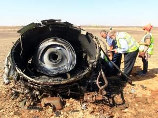 Restos del avión siniestrado en el Sinaí